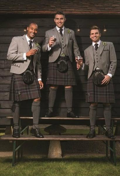 Light Grey Tweed with Scottish Spirit Kilt